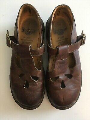Dr. Doc Martens Brown Leather Womens Size 4 Shoes Made In England