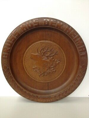 Antique Hand Carved Stag Greetings From Home Walnut Plate 1948 German