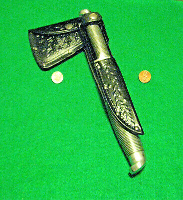 Vtg Sheath Blade WESTERN Black Beauty Knife Hatchet Axe #1 ORIG Leather case set