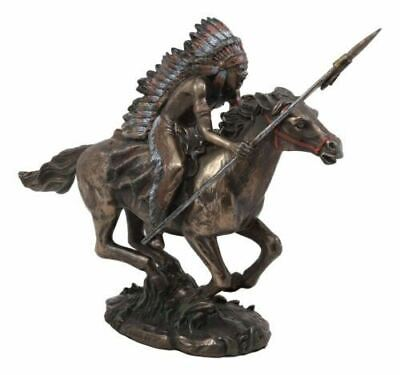 """Polyresin Native Indian Chief Warrior With Eagle War Bonnet On Horse Statue 11""""L"""