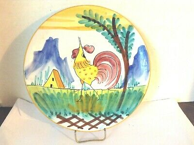 Vintage Hand-Painted Italy Mid Century Modern Rooster Plate Saucer