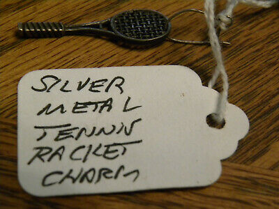 "Retired Vintage 3-D Silver Metal ""Tennis Racket"" Charm Gifts"
