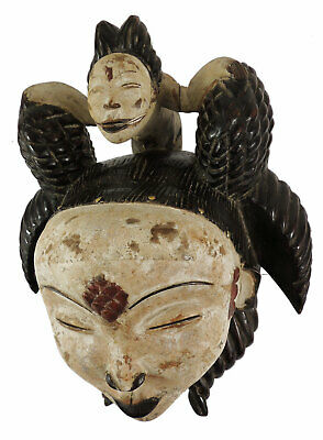 Punu Maiden Spirit Mask with Child Mukudji Gabon African Art SALE WAS $210.00