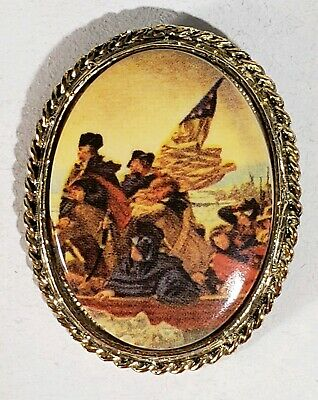 Vintage Costume Gold Oval Brooch George Washington Crossing the Delaware Print