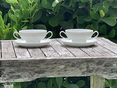(2) Rosenthal Studio Linie Lotus White Cream Soup Bowls & Saucers