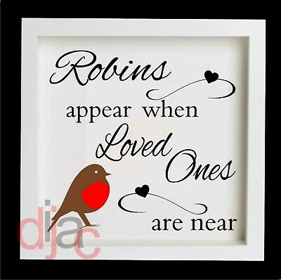 CHRISTMAS VINYL DECAL ROBINS APPEAR WHEN LOVED ONES ARE NEAR large 15 x 15 cm