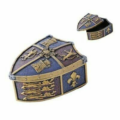 "Polyresin Medieval Heraldic Coat of Arms Le Fleur Crest Jewelry Box 5 1/8""L"