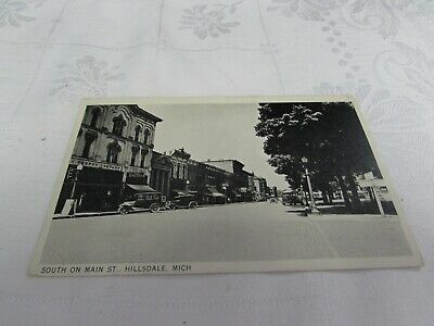 Vintage RPPC Hillsdale MI downtown business Main Street 1920s JC Penney store