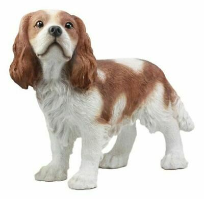 "Resin Large Realistic Adorable Cavalier King Charles Spaniel Dog Statue 16""L"