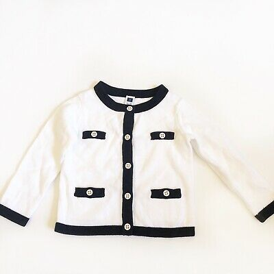 Baby Girls Janie And Jack Sz 18-24 Mo Black White Button Down Sweater Chanel