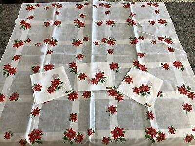 "Vtg ALBA SWISS MADE 37"" Sq. Cotton Tablecloth Christmas Poinsettia & 3 Napkins"