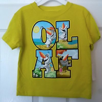 Disney Frozen Olaf Boys Yellow Short Sleeve Tee Shirt - Size 3T - New With Tags