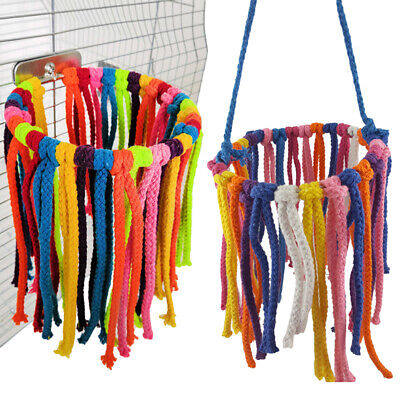 Parrot Bird Swing Chew Cotton Rope Hanging Climbing Cage Metal Ring Toys W