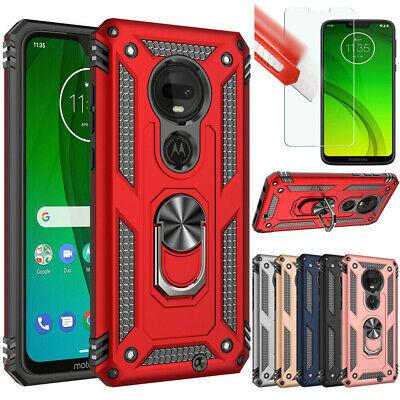 For Motorola Moto G7 Plus/Play/Power/Supra Case Shockproof Armor Cover+Film