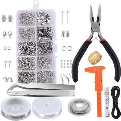 Large Jewellery Making Kit Pliers Silver Beads Wire Starter Tool Home DIY AU Pro