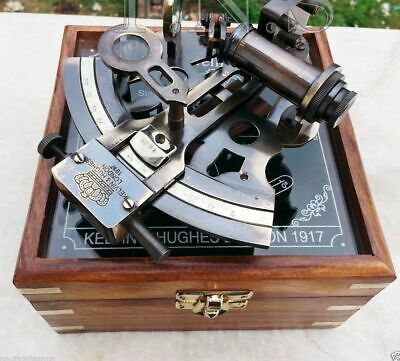 Vintage Brass Sextant Maritime Nautical with Glass Top wooden box