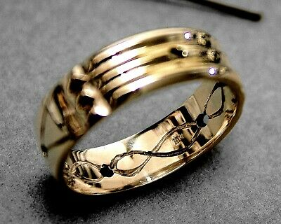 Atlantis Ring Solid 10k Yellow Gold Band Talisman Amulet Custom Handcrafted