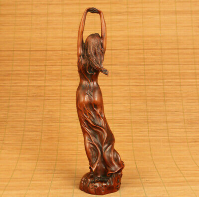 chinese old boxwood skirt pretty belle statue figure netsuke collect decoration
