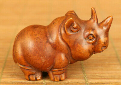 old boxwood Handcarved rhinoceros statue netsuke noble table home decoration
