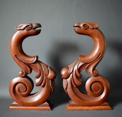 Antique French Pair of Carved Wood Griffin Cabinet Supports Chimera Corbels