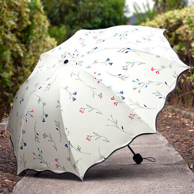 Women's UV Protection Sun Umbrella Folding Windproof Travel Umbrella With Flower