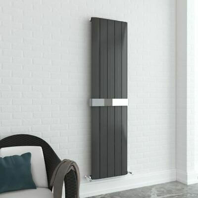 "470mm x 1800mm ""Supreme"" Vertical Anthracite Aluminium Radiator & Towel Bar"