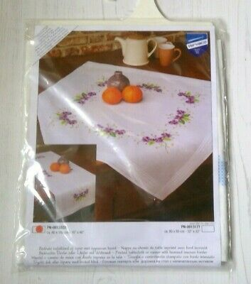Vervaco Printed runner with hemmed border -marked cross stitch VIOLETS 40 X 100