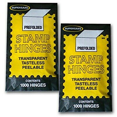 Supersafe Stamp Hinges TWO Packs of 1000 -- Total of 2000 Hinges 3269785