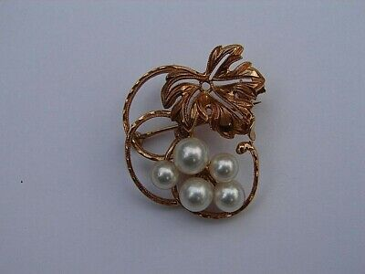 Mikimoto 14k Gold Cluster Pearl Autumn Leaf / Grape Leaf Pin Brooch Vintage
