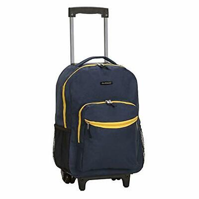 Navy Luggage Rolling Travel Bag Expandable Backpack Trolley Wheeled Carrier New
