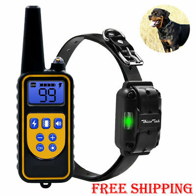 Pet Dog Training Collar Rechargeable Electric Shock LCD Anti-bark