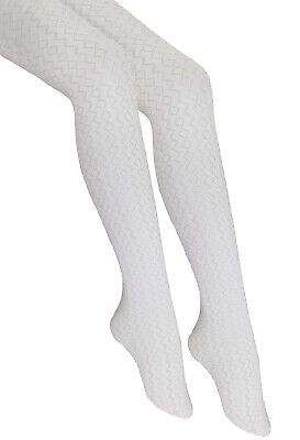 "Girls White Patterned Tights 20 Denier Bridesmaid Holy Communion /""GAJA/"" Knittex"