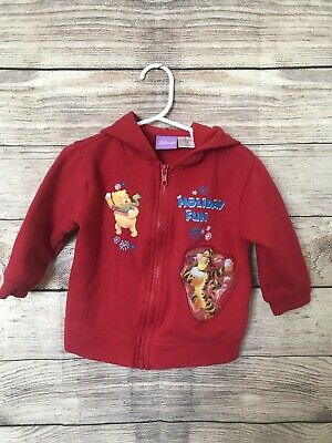 DISNEY Boys Toddler 24 Months Winnie The Pooh Red Holiday Fun Zip Up Hoodie