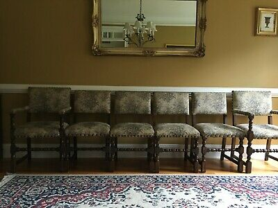 Antique Tapestry Upholstered Dining Chairs