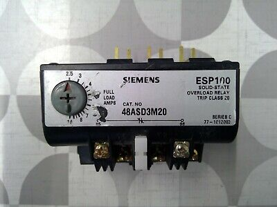 Siemens 48ASD3M20 ESP100 Overload Relay **Free Shipping**