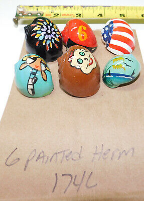 6 Hermit Crab Shells Painted Seashell Fish Tank Display Item # 174-L