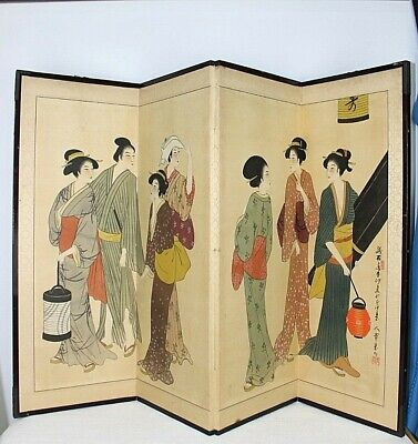 """Chinese folding screen 52 x 36"""" apx Hand painted paper Japanese Oriental  Signed"""