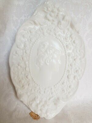 Antique Victorian Era Milk Glass Wall Plaque/Tray Art Deco Lady And Roses
