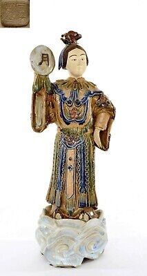 Old Chinese Mudman Shiwan Stoneware Pottery Immortal Lady Figurine Figure 47CM