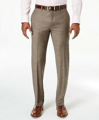 $615 Tommy Hilfiger 36w X 34l Men'S Brown Wool Flat Front Fit Pants *Repaired*