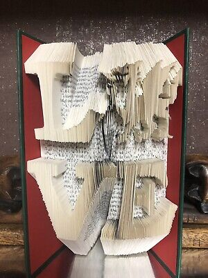 REDUCED Love Wales BOOK FOLDING ART SCULPTURE Folded Red Green Welsh Dragon