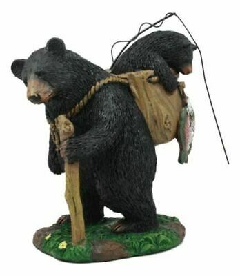 """Resin """"Gone Fishing"""" Mother Black Bear W/ Cub In Fishing Backpack Statue 7.75""""H"""