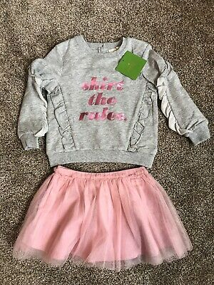 """NWT KATE SPADE NEW YORK Outfit """"Skirt The Rules"""" GREY Pink Tulle Size 18 Months"""
