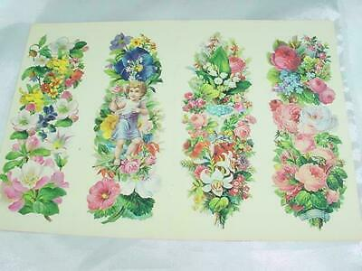 Vintage Old Lot of Four Dover Publications Old Fashion Bookmarks Roses Flowers