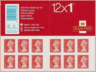 2013 12 x 1st Class Red Machin Stamps Booklet ** Forgery *  M13L Missing Letter