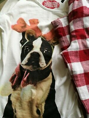 Childs  Pyjamas age 10-11 years  by M & S) French Xmas Bull Dog