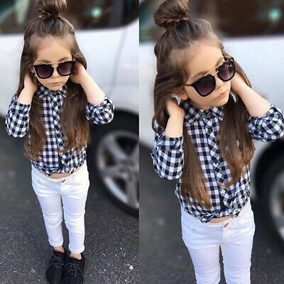 Toddler Kids Baby Girls Shirt Tops + Pants Set Plaids Shirt Casual Outfits Set