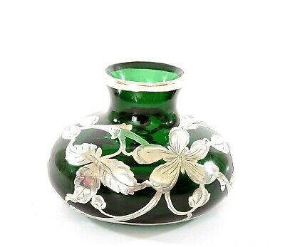 Antique Emerald Green Glass Sterling Silver Overlay Vase Art Nouveau Style