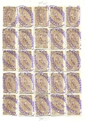 Canada Revenue Bcl25 Used British Columbia Law Stamp Reconstructed Sheet
