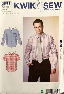 KWIK SEW Pattern 3883 | Mens Slightly Fitted Shirts  | Sz S M L XL XXL | UNCUT